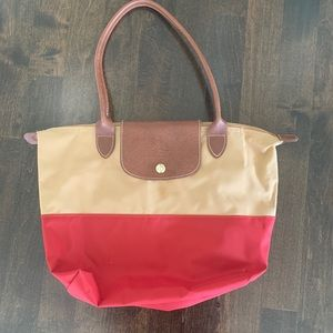 Longchamp red and tan Tote